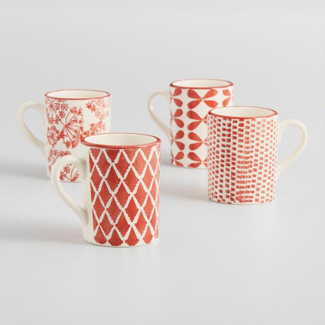 Terracotta and Ivory Alvaro Mugs Set of 4