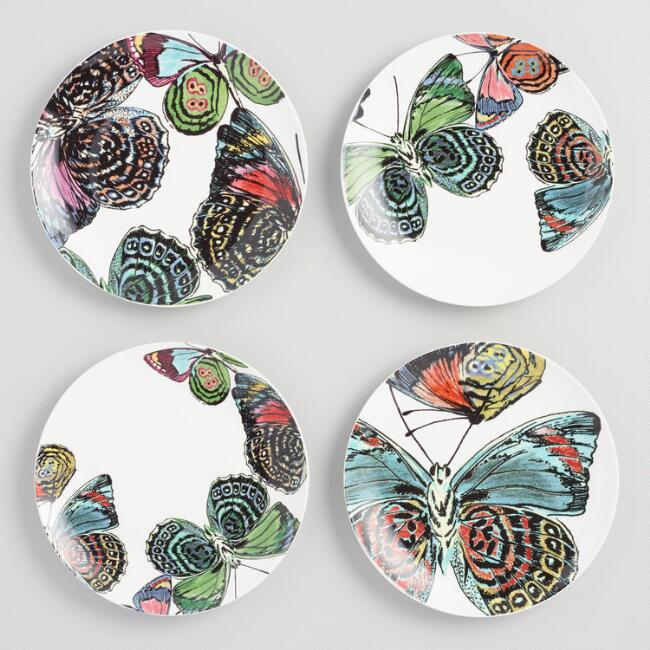 Porcelain Butterfly Plates 4 Pack
