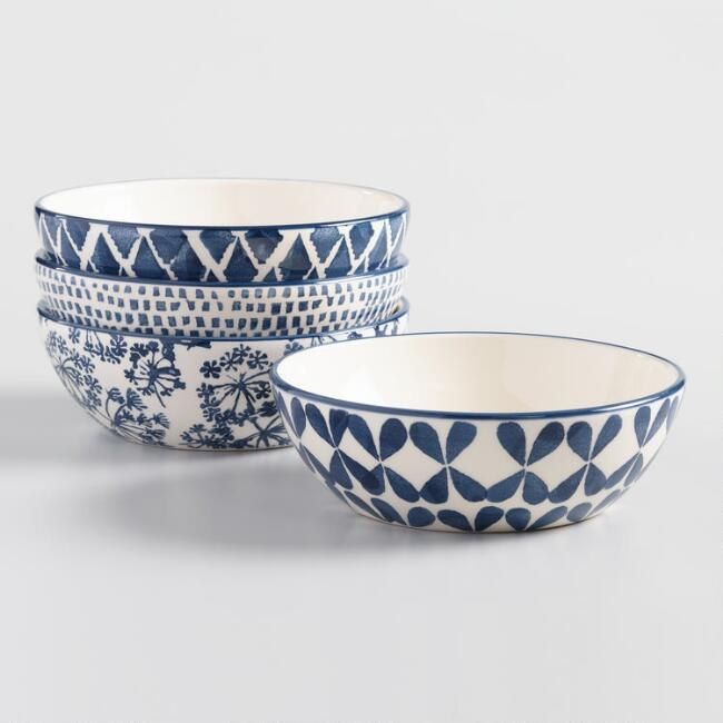 Indigo Blue and Ivory Alvaro Bowls Set of 4