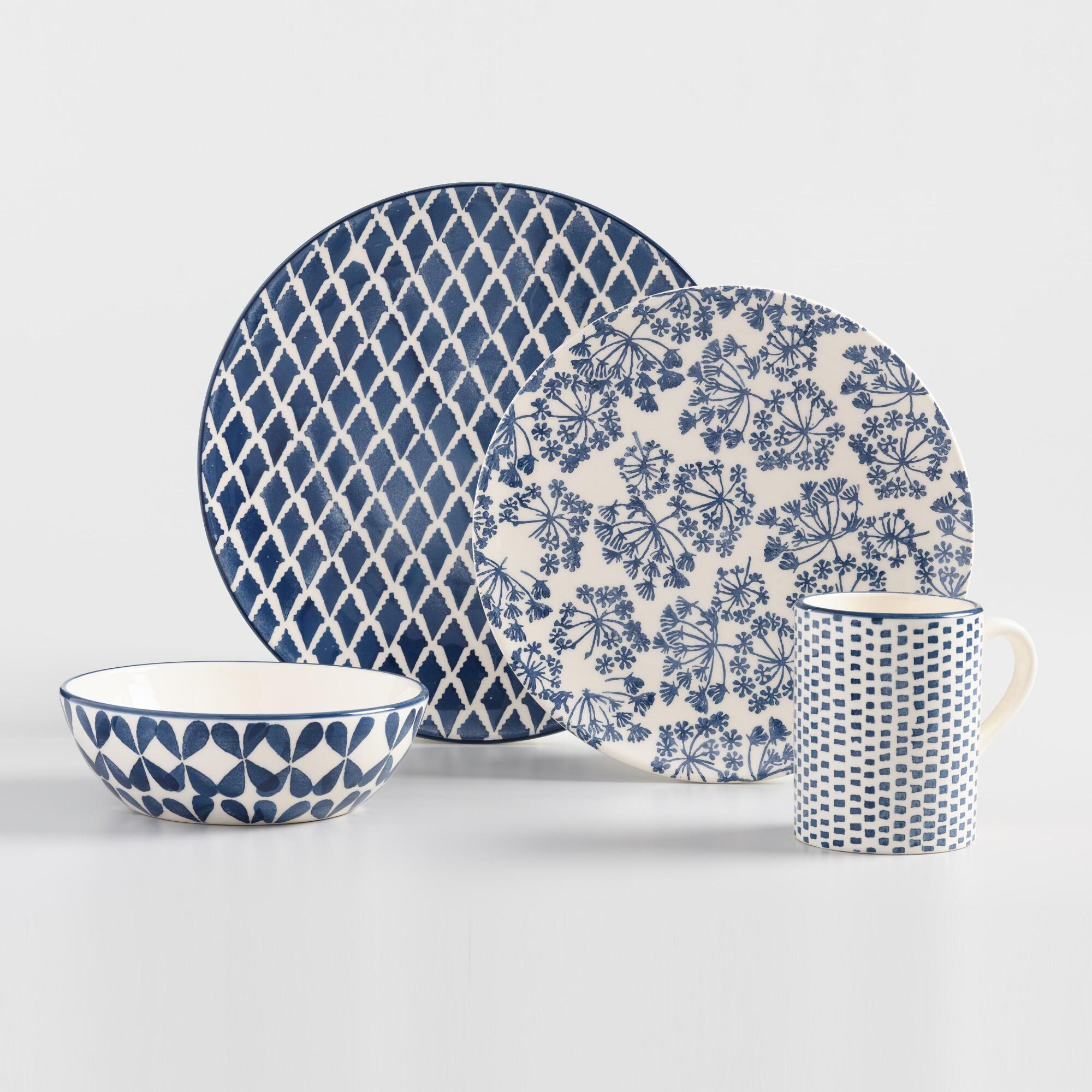 Indigo Blue and Ivory Alvaro Dinnerware Collection by World Market