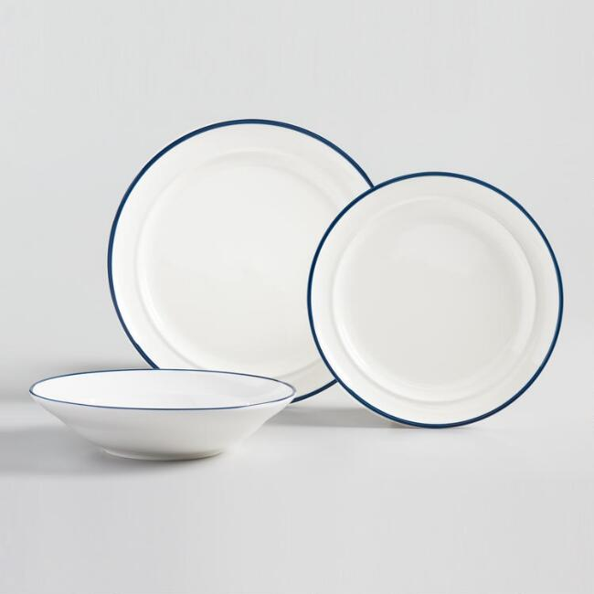 Navy Blue Rim Dinnerware Collection