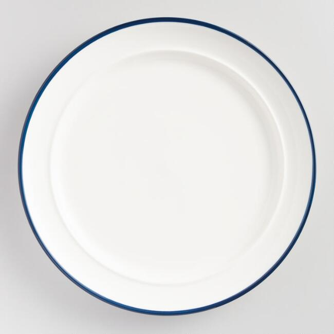Navy Blue Rim Dinner Plates Set of 6