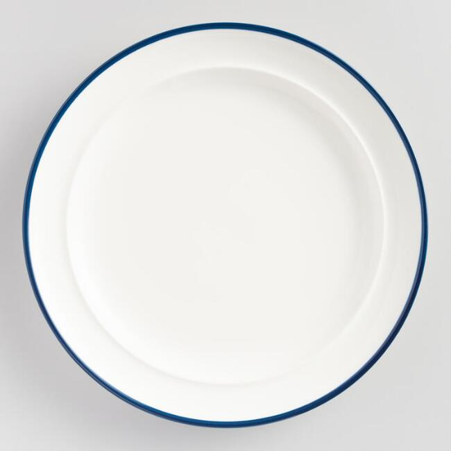 Navy Blue Rim Salad Plates Set of 6