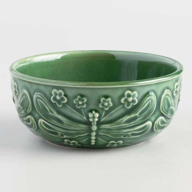 Green Majolica Dragonfly Bowls Set Of 4 by World Market
