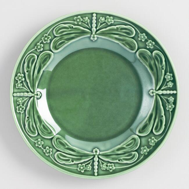 Green Majolica Dragonfly Plates Set of 4