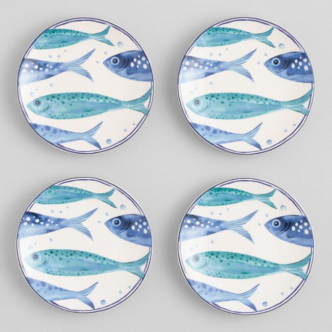 White and Blue Sardine Appetizer Plates 4 Pack
