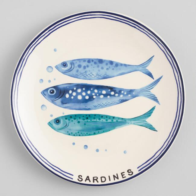 White and Blue Sardine Salad Plates Set of 4