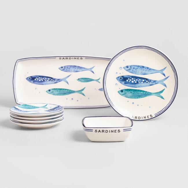 White and Blue Sardine Entertaining Collection