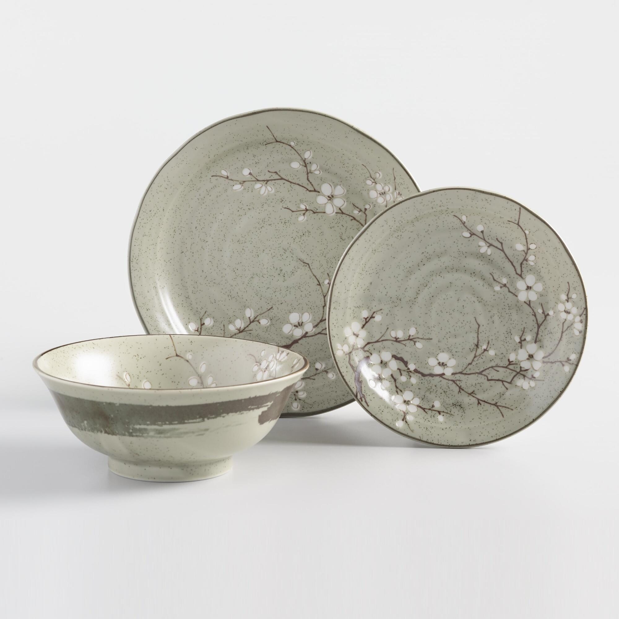 Taupe Porcelain Sakura Dinnerware Collection by World Market