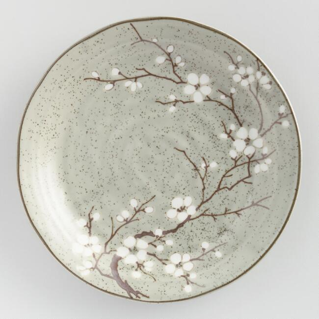 Taupe Porcelain Sakura Salad Plates Set of 4