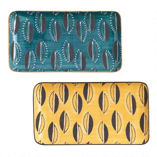 African Geo Serving Platters Set of 2