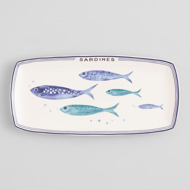 White and Blue Sardine Serving Platter
