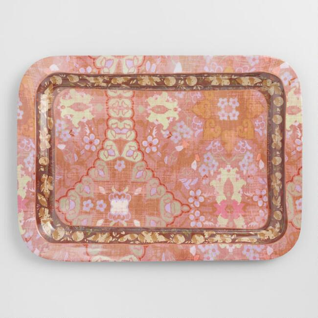 Pink Persia Metal Serving Tray