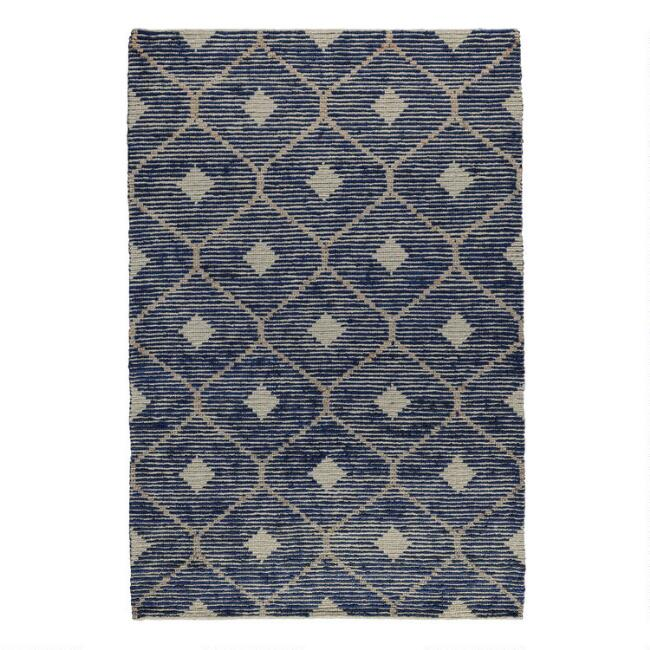 Indigo Blue and Tan Lattice Jute and Wool Rustica Area Rug