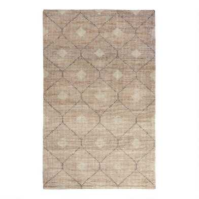 Tan and Gray Lattice Jute and Wool Rustica Area Rug