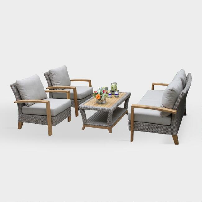 Teak and Wicker Taylor 4 Piece Outdoor Occasional Set
