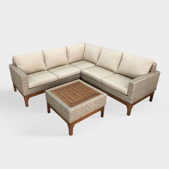 Eucalyptus and Wicker Logan Outdoor Occasional Sectional Set