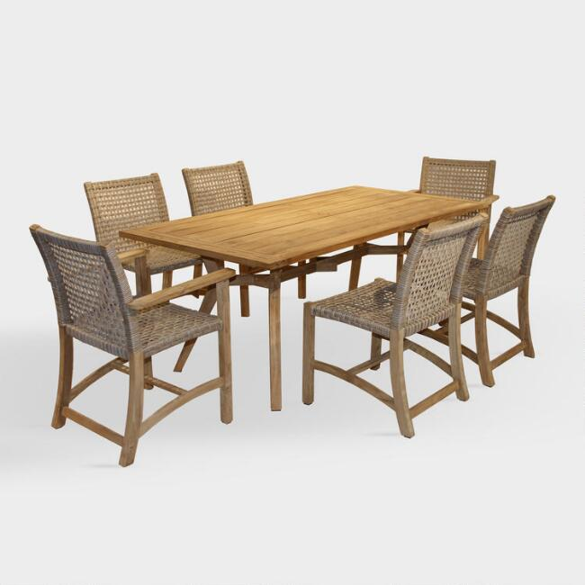 Teak Wood And Wicker Finley Outdoor Dining Collection