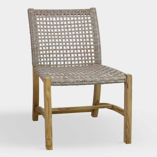 Teak And Wicker Finley Outdoor Dining Chairs Set Of 2