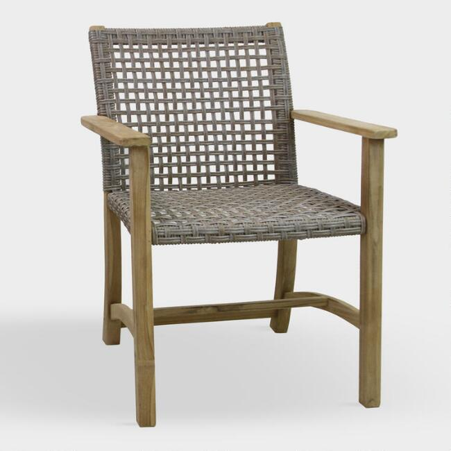 Teak And Wicker Finley Outdoor Dining Armchairs Set Of 2