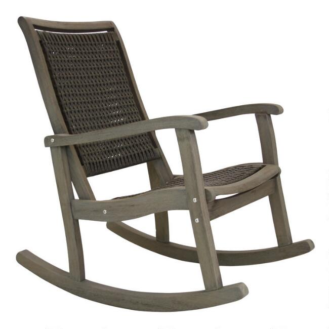 Graywashed Wood And Wicker Claire Outdoor Rocking Chair