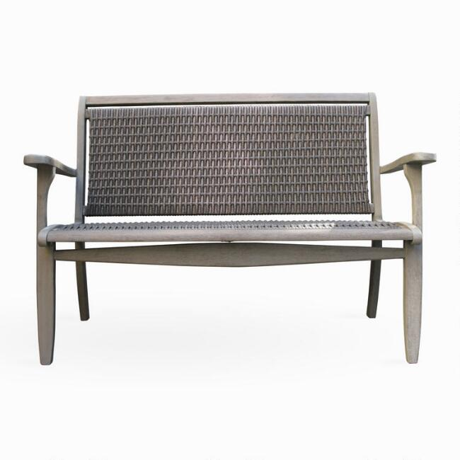 Graywashed Wood And Wicker Claire Outdoor Bench
