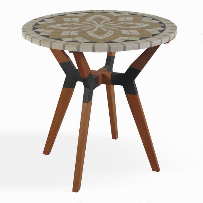 Spanish Marble Mosaic Canary Outdoor Bistro Table