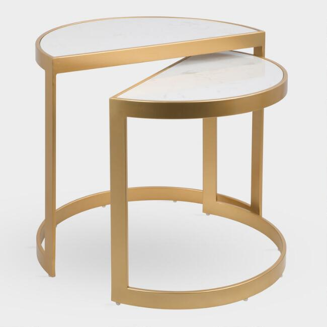 Marble and Gold Milo Nesting Tables Set of 2