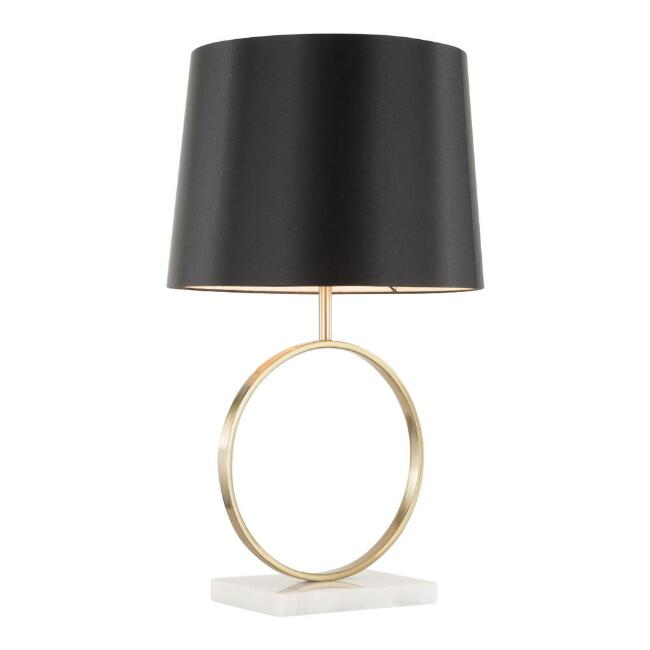 Marble and Gold Circle Kane Table Lamp