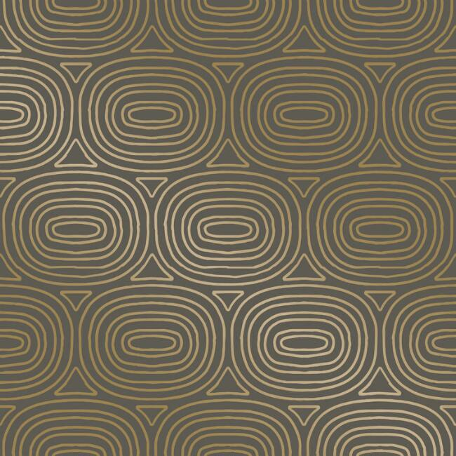 Gold And Taupe Oval Peel and Stick Wallpaper