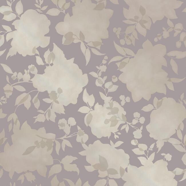 Bronze and Lavender Floral Peel and Stick Wallpaper