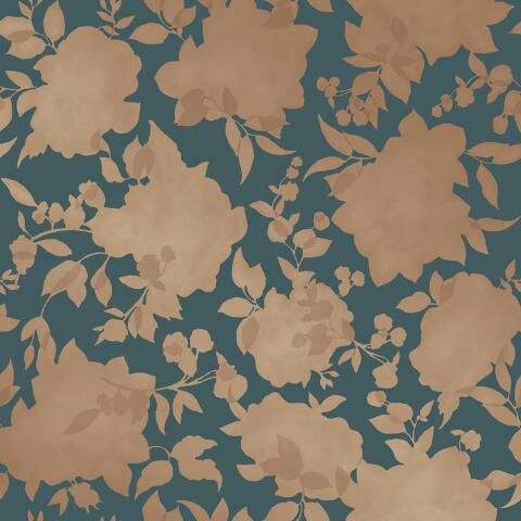 Gold And Teal Floral Peel And Stick Wallpaper