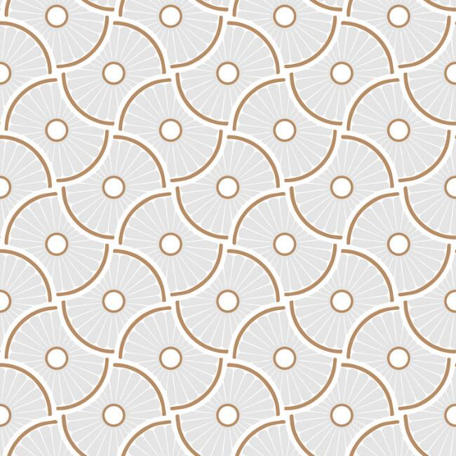 Gray And Gold Geometric Wheels Peel and Stick Wallpaper