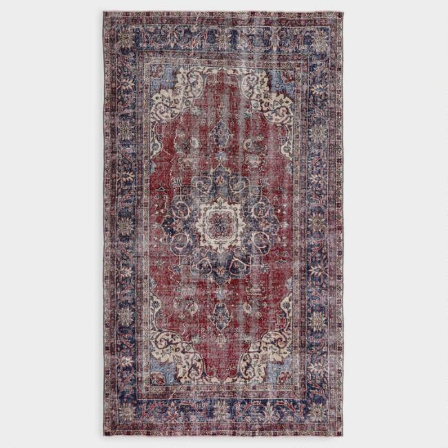 Revival Rugs Red And Navy Blue Wool Agnete Vintage Area Rug