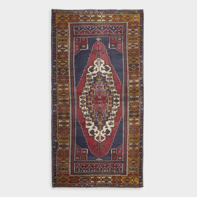Revival Rugs Red And Navy Wool Unseli Vintage Area Rug