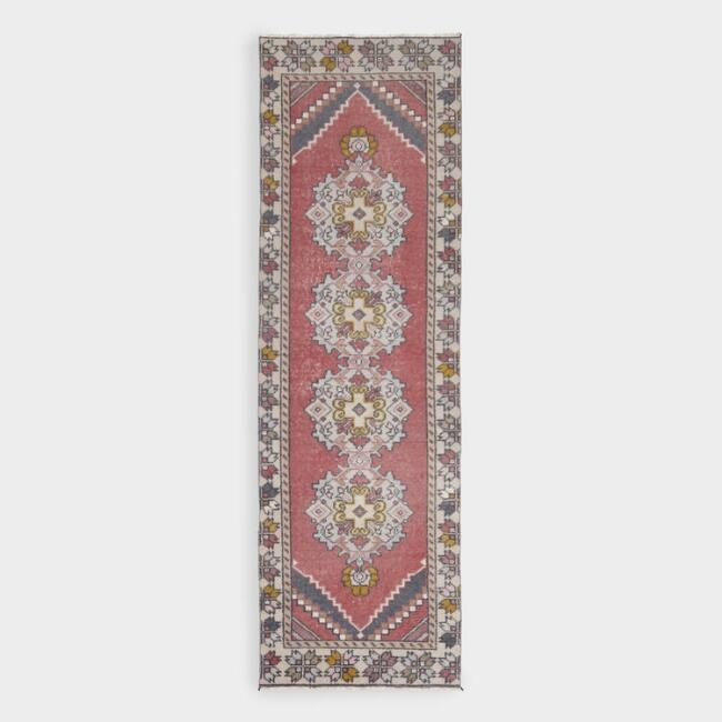 Revival Rugs Red And Pink Wool Gulhan Vintage Floor Runner