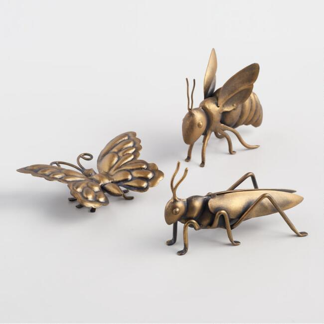 Antiqued Bronze Metal Bugs Decor Set of 3