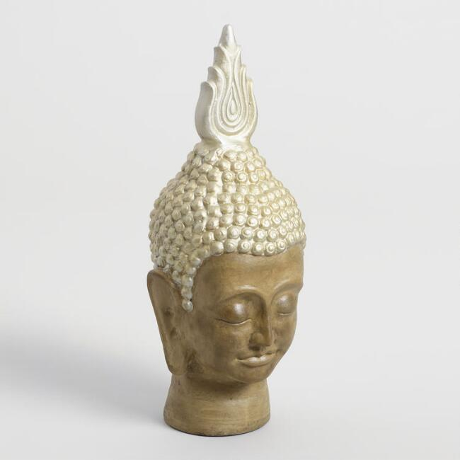 Buddha Head with Gold Flame