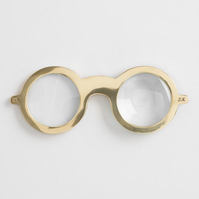 Gold Eyeglass Magnifying Glass