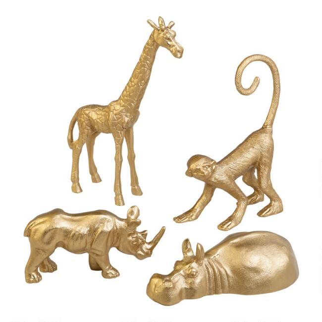 Gold Metal Animal Decor Set of 4