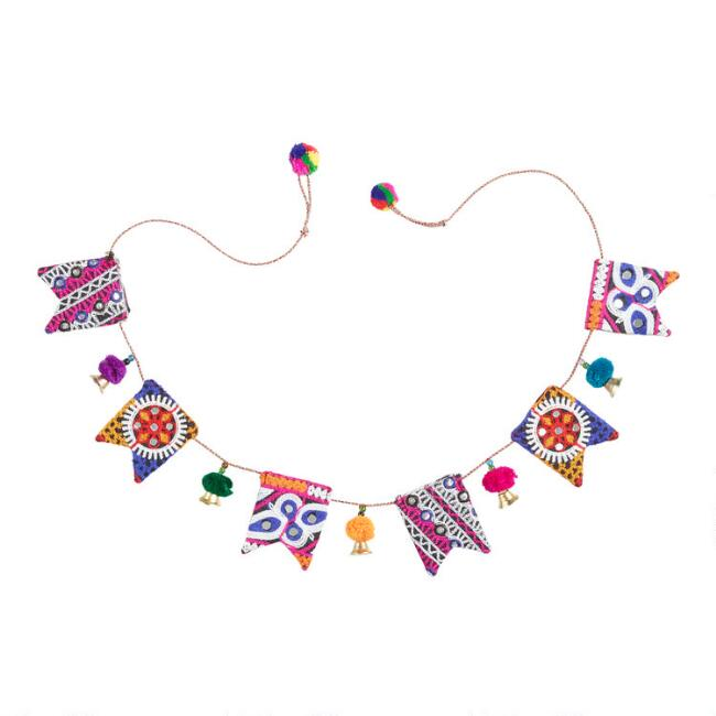 Embroidered Toran Hanging Decor with Mirrors