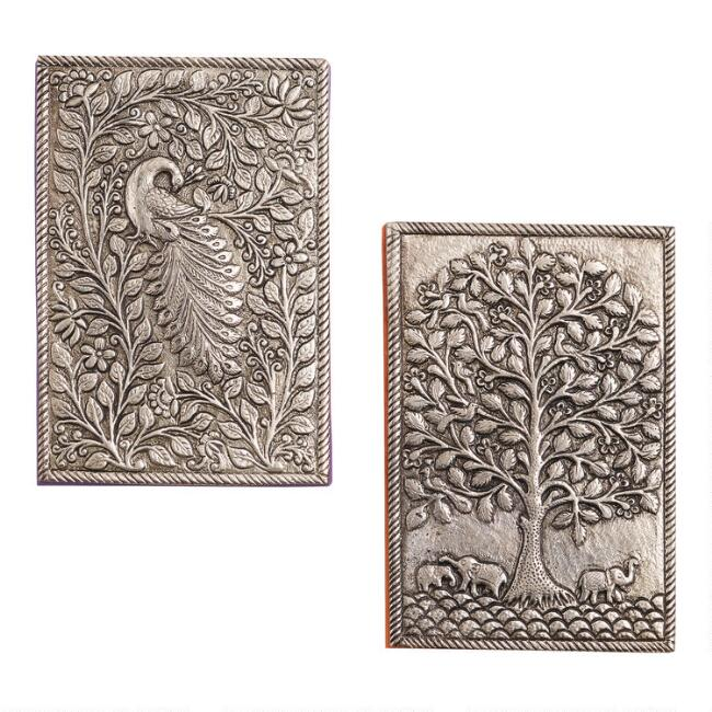 Embossed Metal Peacock and Tree Journals Set of 2