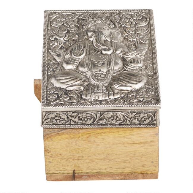 Embossed Metal and Wood Ganesh and Hamsa Boxes Set of 2