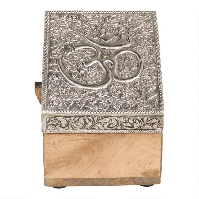 Embossed Metal and Wood Buddha and Om Boxes Set of 2