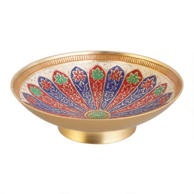 Round Painted Brass Trinket Dish