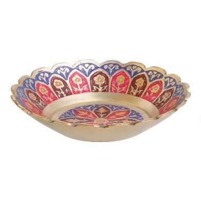 Scalloped Painted Brass Trinket Dish