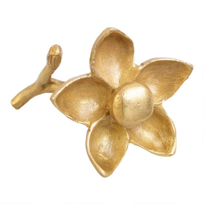 Antiqued Brass Flower Decor