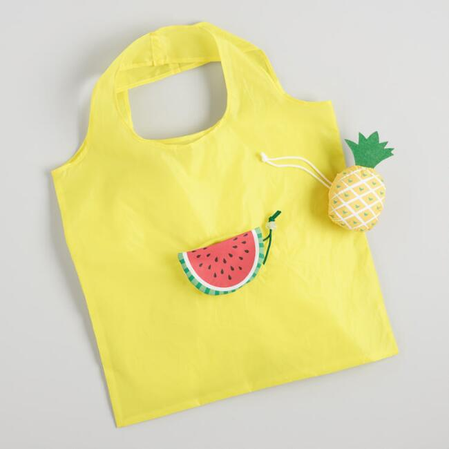 Watermelon and Pineapple Foldable Tote Bags Set of 2