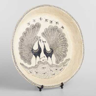 Large Warli Decorative Peacock Plate with Stand