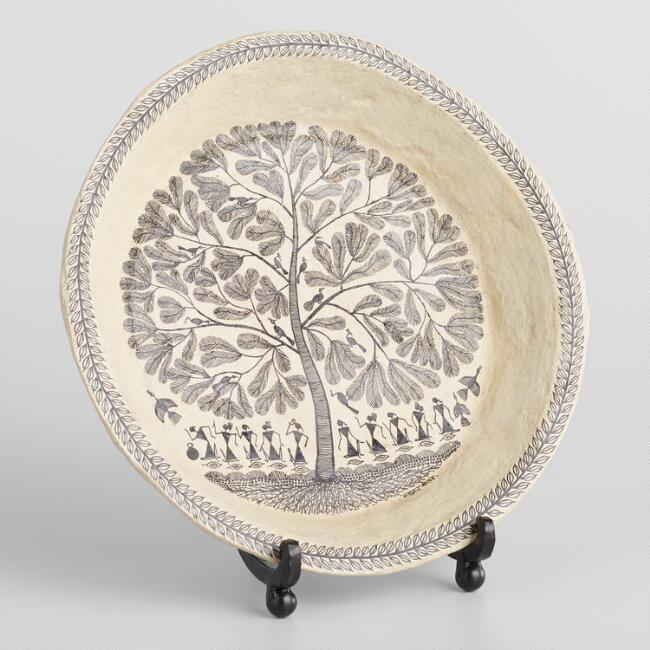 Small Warli Decorative Tree Plate with Stand